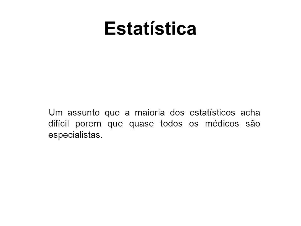Estatísticos são vistos como: Desnecessários: alguém que sabe usar pacotes estatísticos.