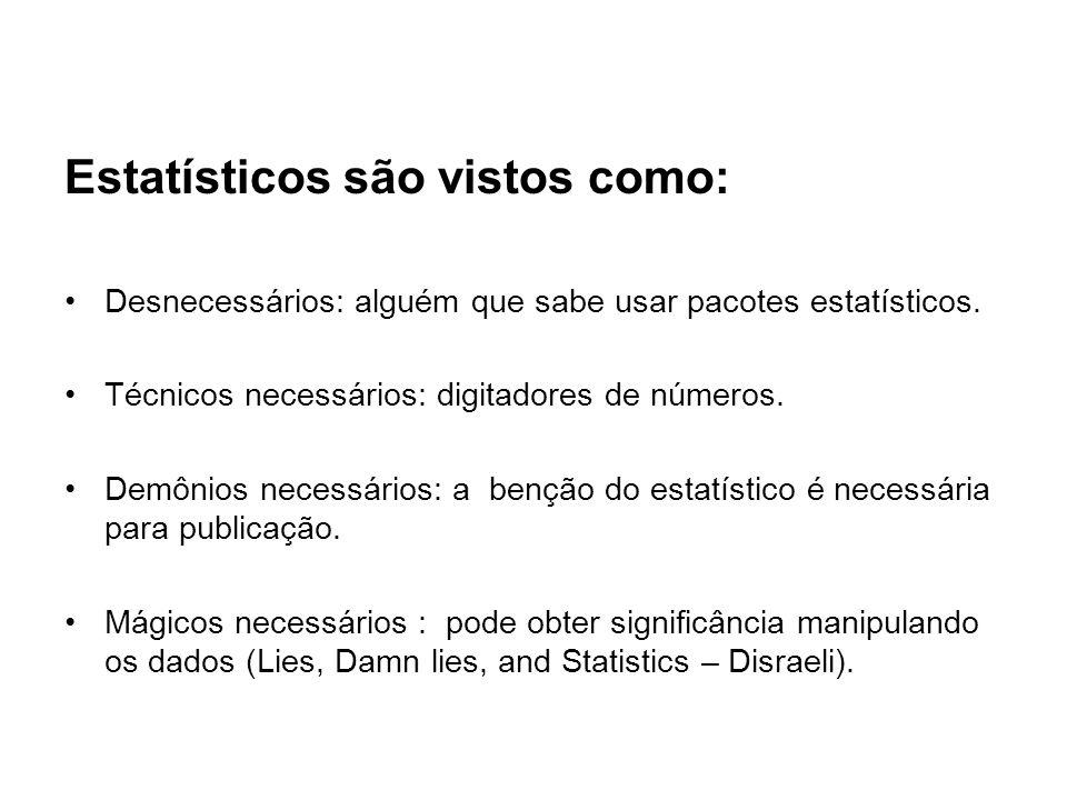 Estatísticos são vistos como: Desnecessários: alguém que sabe usar pacotes estatísticos. Técnicos necessários: digitadores de números. Demônios necess