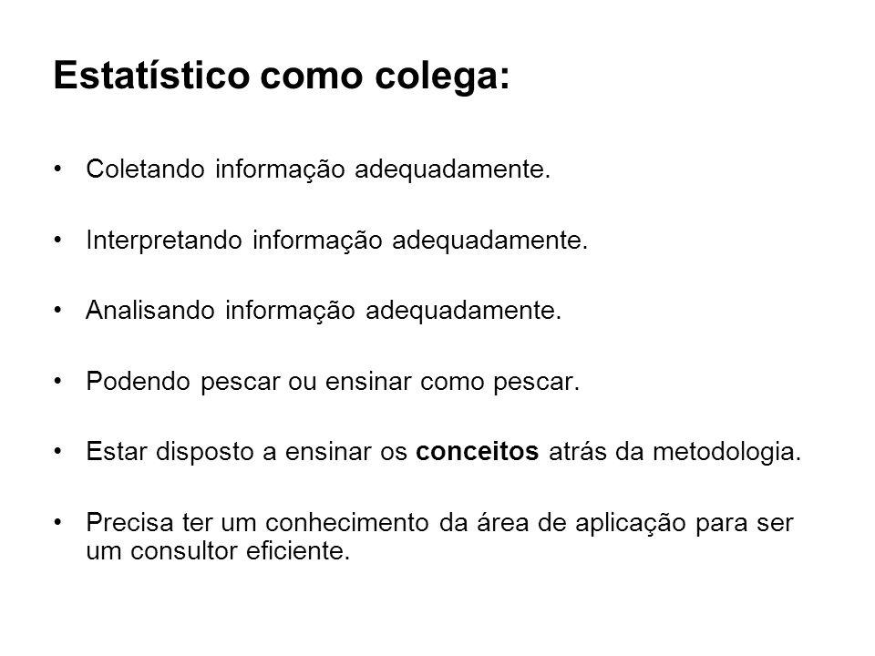 Estatístico como colega: Coletando informação adequadamente. Interpretando informação adequadamente. Analisando informação adequadamente. Podendo pesc