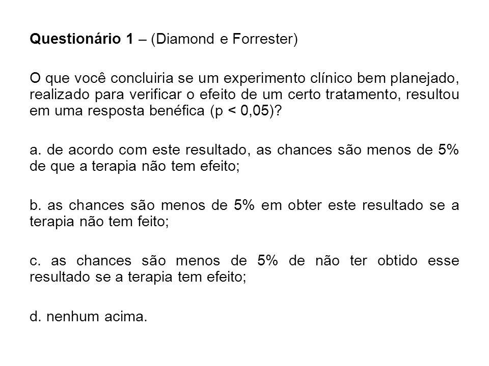 Questionário 1 – (Diamond e Forrester) O que você concluiria se um experimento clínico bem planejado, realizado para verificar o efeito de um certo tr