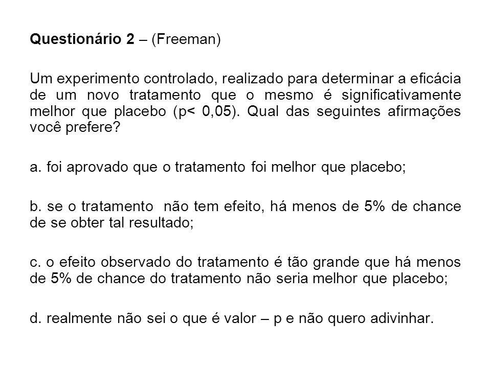 Questionário 2 – (Freeman) Um experimento controlado, realizado para determinar a eficácia de um novo tratamento que o mesmo é significativamente melh