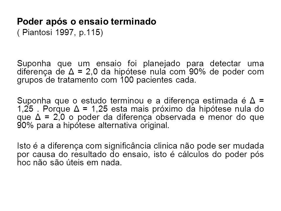 Poder após o ensaio terminado ( Piantosi 1997, p.115) Suponha que um ensaio foi planejado para detectar uma diferença de Δ = 2,0 da hipótese nula com