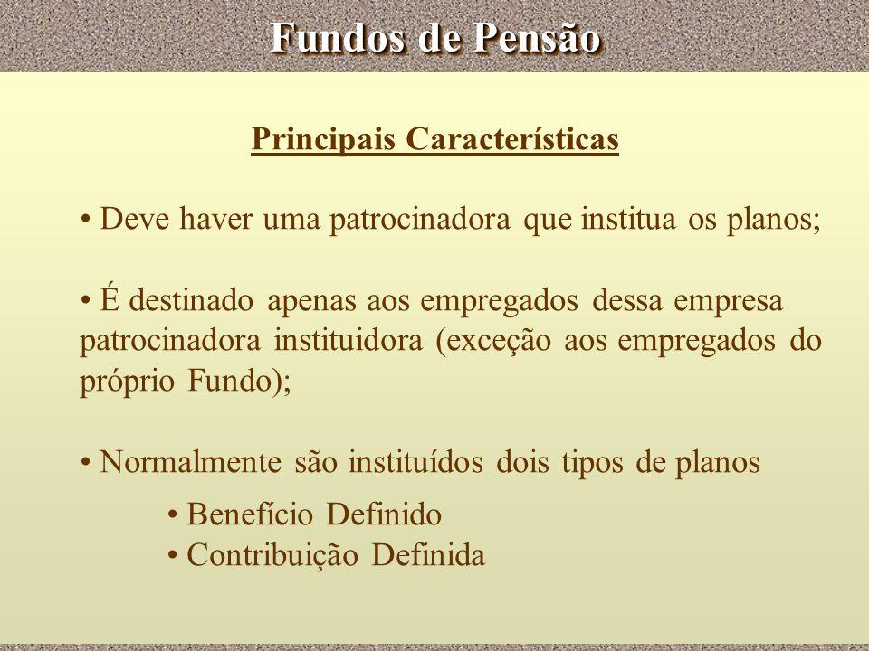 Fundos de Pensão Principais Características Deve haver uma patrocinadora que institua os planos; É destinado apenas aos empregados dessa empresa patro