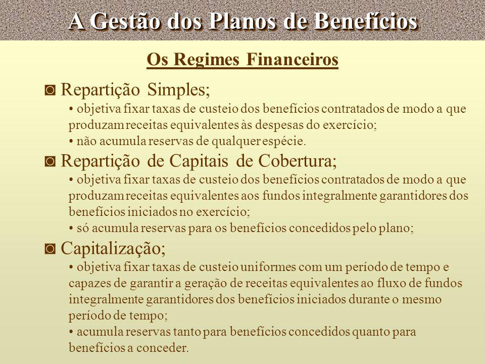 A Gestão dos Planos de Benefícios Os Regimes Financeiros Repartição Simples; objetiva fixar taxas de custeio dos benefícios contratados de modo a que