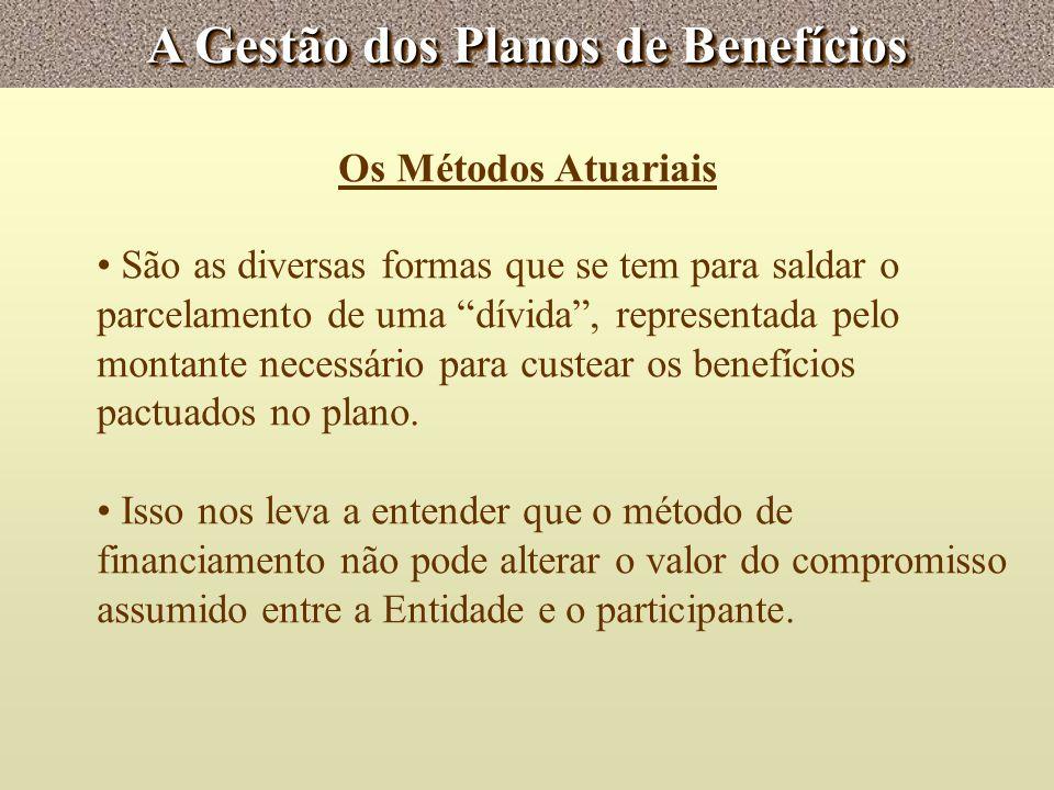A Gestão dos Planos de Benefícios Os Métodos Atuariais São as diversas formas que se tem para saldar o parcelamento de uma dívida, representada pelo m