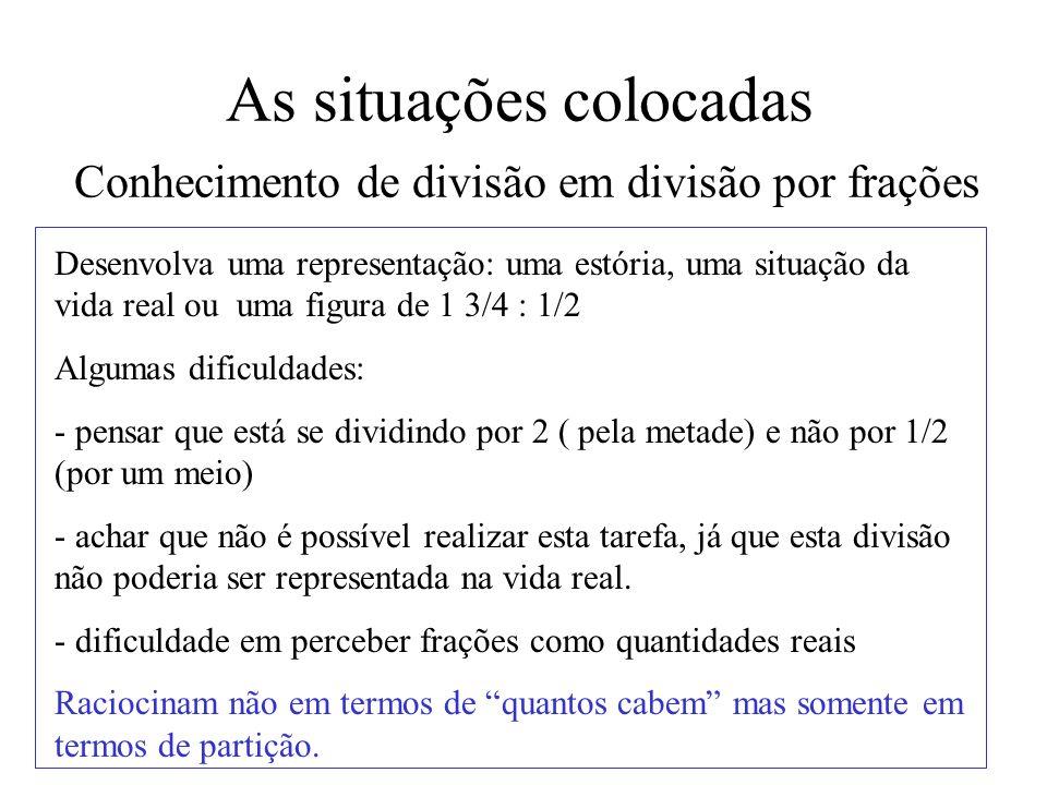 As situações colocadas Conhecimento de divisão em divisão por frações Desenvolva uma representação: uma estória, uma situação da vida real ou uma figu