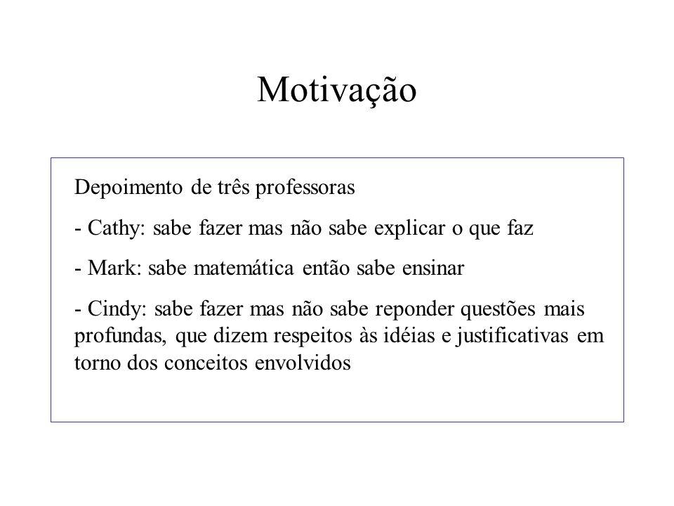 Motivação Depoimento de três professoras - Cathy: sabe fazer mas não sabe explicar o que faz - Mark: sabe matemática então sabe ensinar - Cindy: sabe