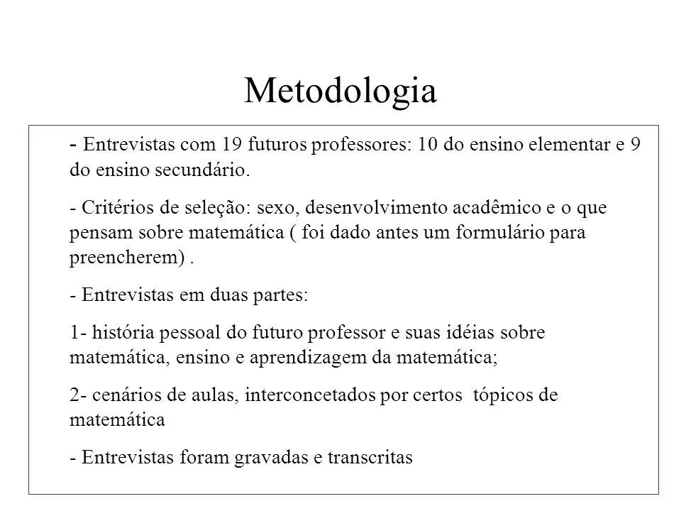 Objetivos das entrevistas - Descrever o que os professores entrevistados sabem sobre divisão.
