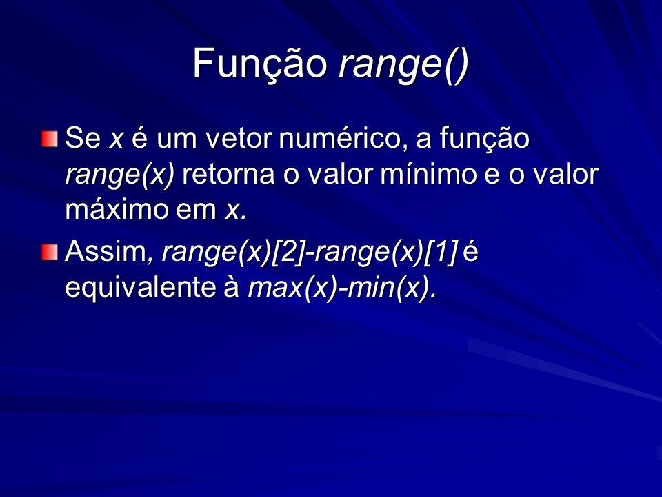 Função range() Se x é um vetor numérico, a função range(x) retorna o valor mínimo e o valor máximo em x. Assim, range(x)[2]-range(x)[1] é equivalente