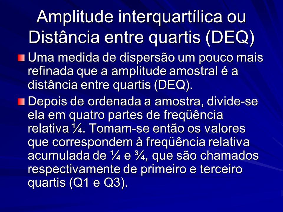 Amplitude interquartílica ou Distância entre quartis (DEQ) Uma medida de dispersão um pouco mais refinada que a amplitude amostral é a distância entre
