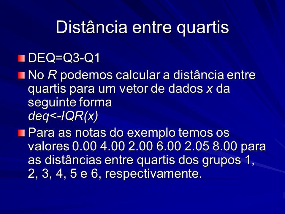 Distância entre quartis DEQ=Q3-Q1 No R podemos calcular a distância entre quartis para um vetor de dados x da seguinte forma deq<-IQR(x) Para as notas