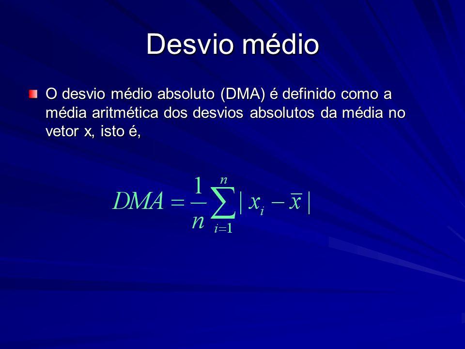 Desvio médio O desvio médio absoluto (DMA) é definido como a média aritmética dos desvios absolutos da média no vetor x, isto é,