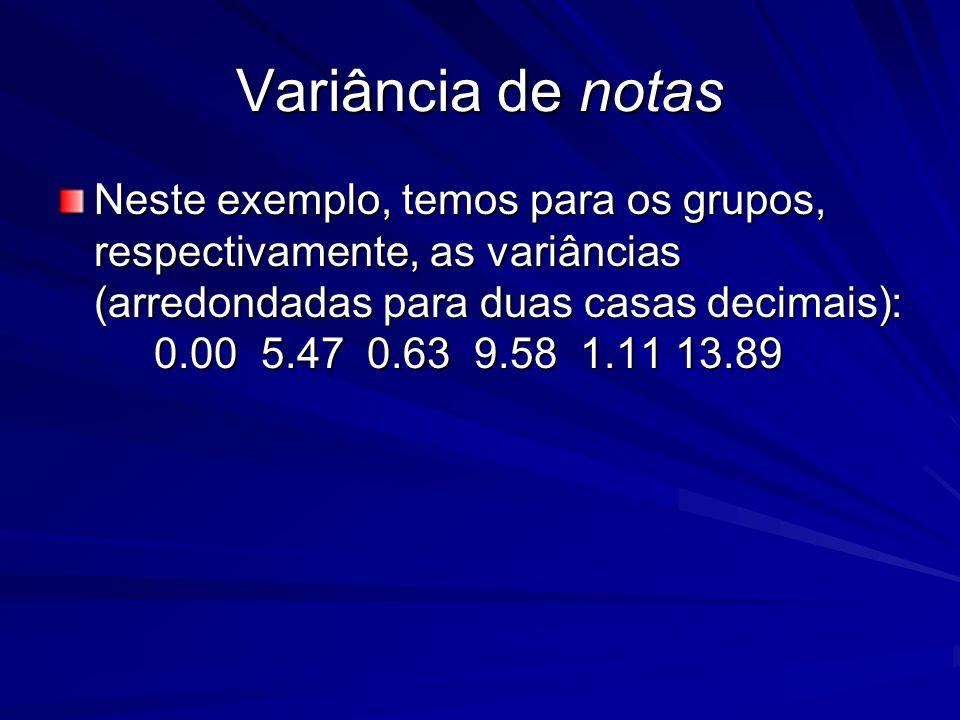Variância de notas Neste exemplo, temos para os grupos, respectivamente, as variâncias (arredondadas para duas casas decimais): 0.00 5.47 0.63 9.58 1.