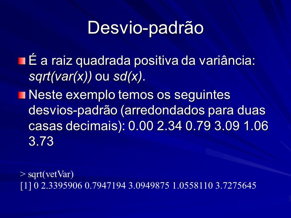 Desvio-padrão É a raiz quadrada positiva da variância: sqrt(var(x)) ou sd(x). Neste exemplo temos os seguintes desvios-padrão (arredondados para duas