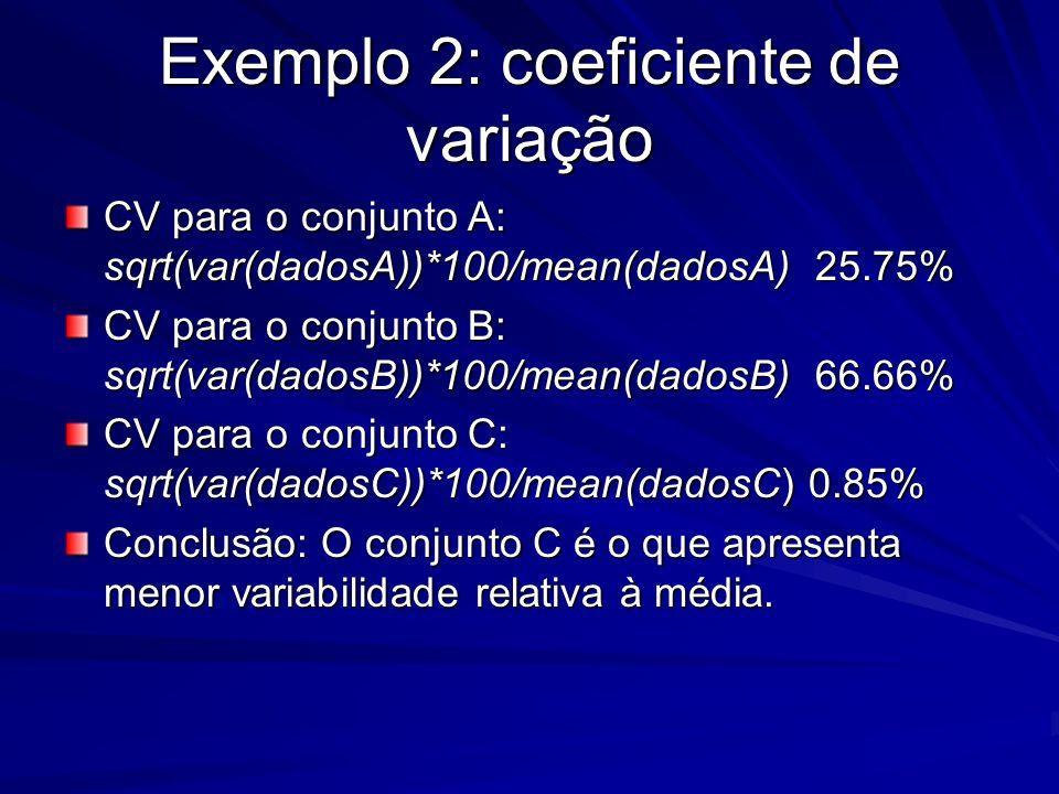 Exemplo 2: coeficiente de variação CV para o conjunto A: sqrt(var(dadosA))*100/mean(dadosA) 25.75% CV para o conjunto B: sqrt(var(dadosB))*100/mean(da