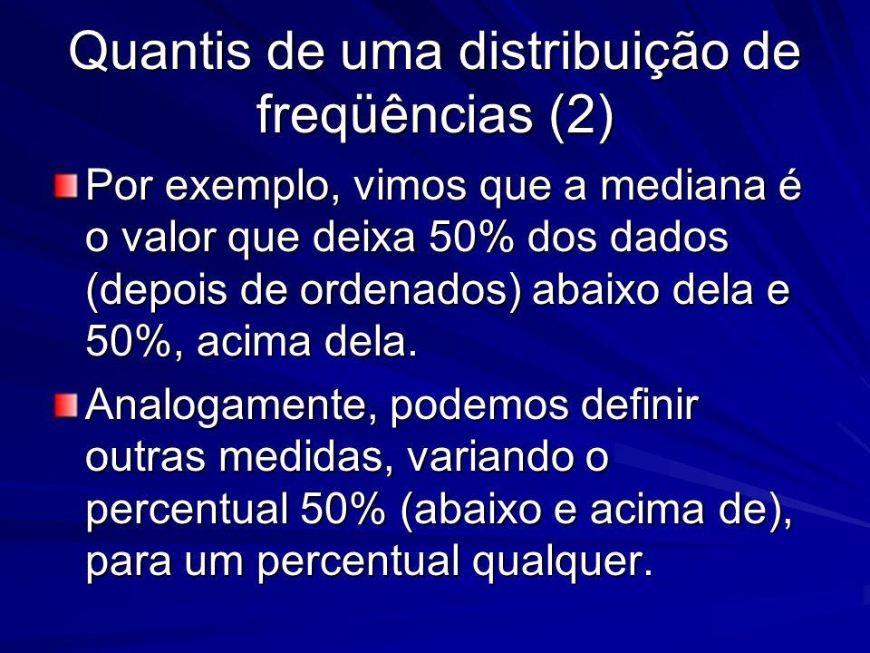 Quantis de uma distribuição de freqüências (2) Por exemplo, vimos que a mediana é o valor que deixa 50% dos dados (depois de ordenados) abaixo dela e