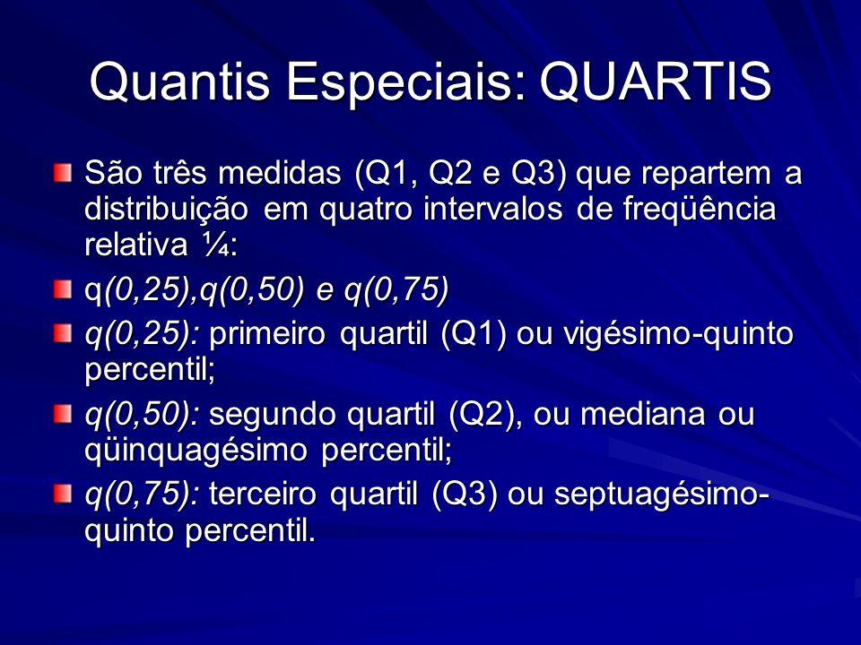 Quantis Especiais: QUARTIS São três medidas (Q1, Q2 e Q3) que repartem a distribuição em quatro intervalos de freqüência relativa ¼: q(0,25),q(0,50) e