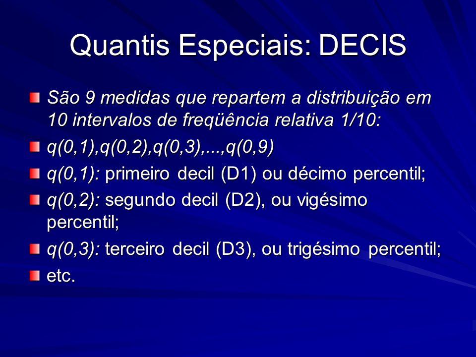 Quantis Especiais: DECIS São 9 medidas que repartem a distribuição em 10 intervalos de freqüência relativa 1/10: q(0,1),q(0,2),q(0,3),...,q(0,9) q(0,1