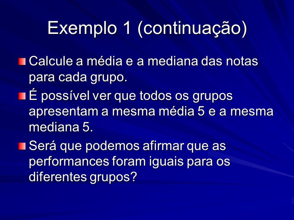 Exemplo 1 (continuação) Calcule a média e a mediana das notas para cada grupo. É possível ver que todos os grupos apresentam a mesma média 5 e a mesma