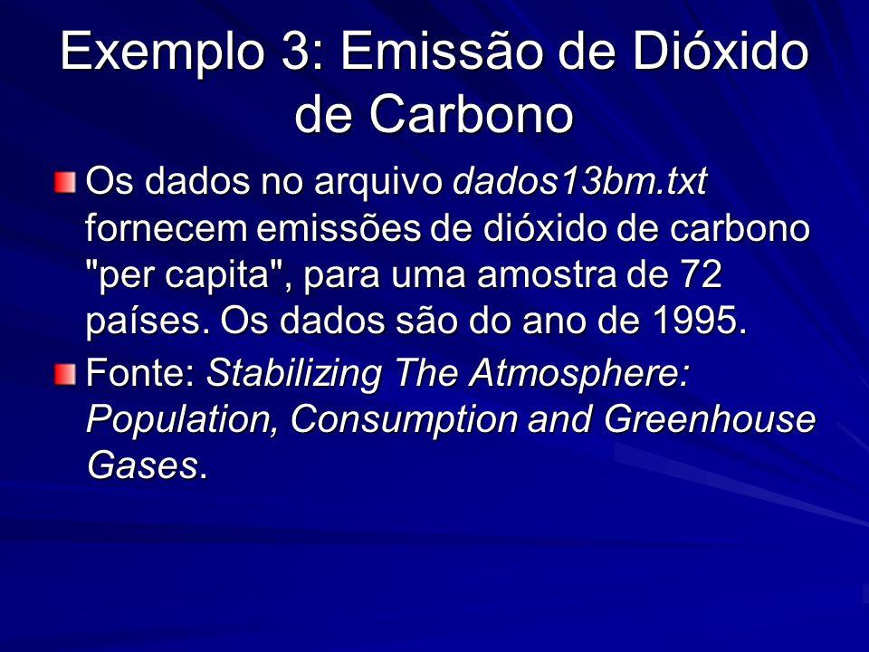 Exemplo 3: Emissão de Dióxido de Carbono Os dados no arquivo dados13bm.txt fornecem emissões de dióxido de carbono