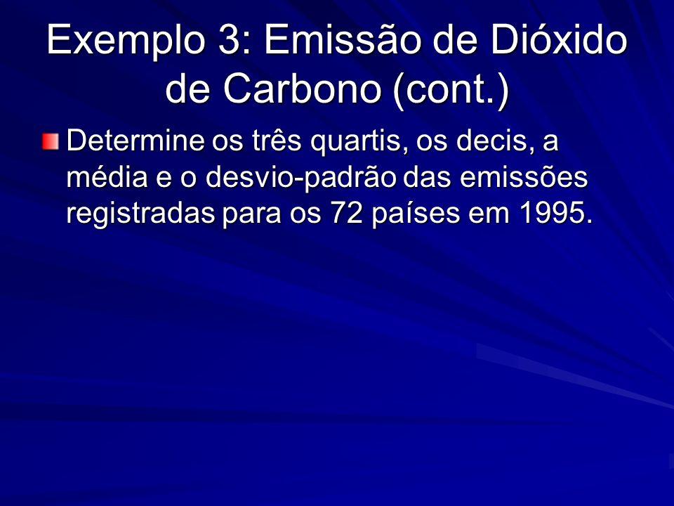 Exemplo 3: Emissão de Dióxido de Carbono (cont.) Determine os três quartis, os decis, a média e o desvio-padrão das emissões registradas para os 72 pa