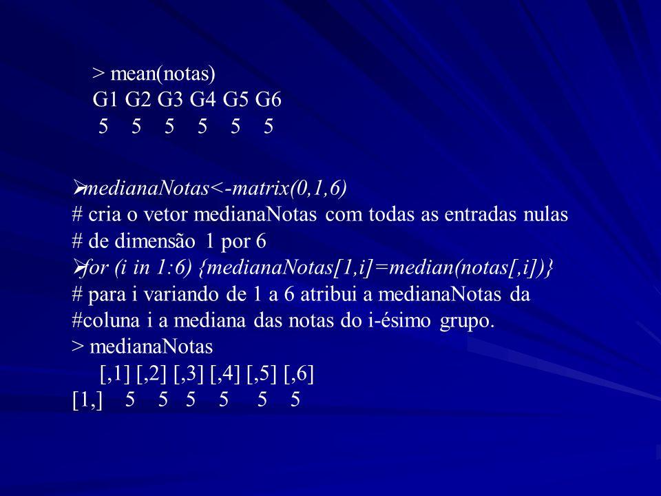 > mean(notas) G1 G2 G3 G4 G5 G6 5 5 5 5 5 5 medianaNotas<-matrix(0,1,6) # cria o vetor medianaNotas com todas as entradas nulas # de dimensão 1 por 6