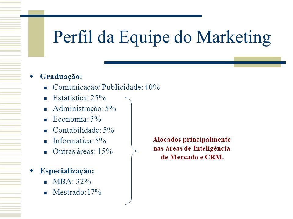 Perfil da Equipe do Marketing Graduação: Comunicação/ Publicidade: 40% Estatística: 25% Administração: 5% Economia: 5% Contabilidade: 5% Informática: 5% Outras áreas: 15% Especialização: MBA: 32% Mestrado:17% Alocados principalmente nas áreas de Inteligência de Mercado e CRM.