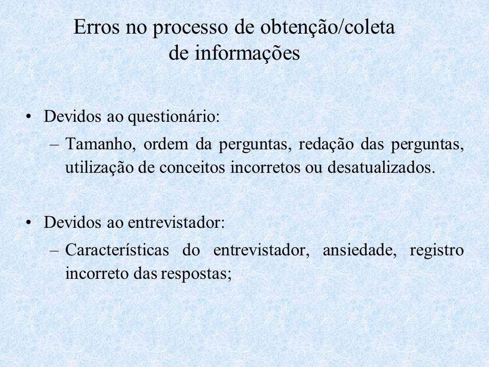Erros no processo de obtenção/coleta de informações Devidos ao questionário: –Tamanho, ordem da perguntas, redação das perguntas, utilização de concei