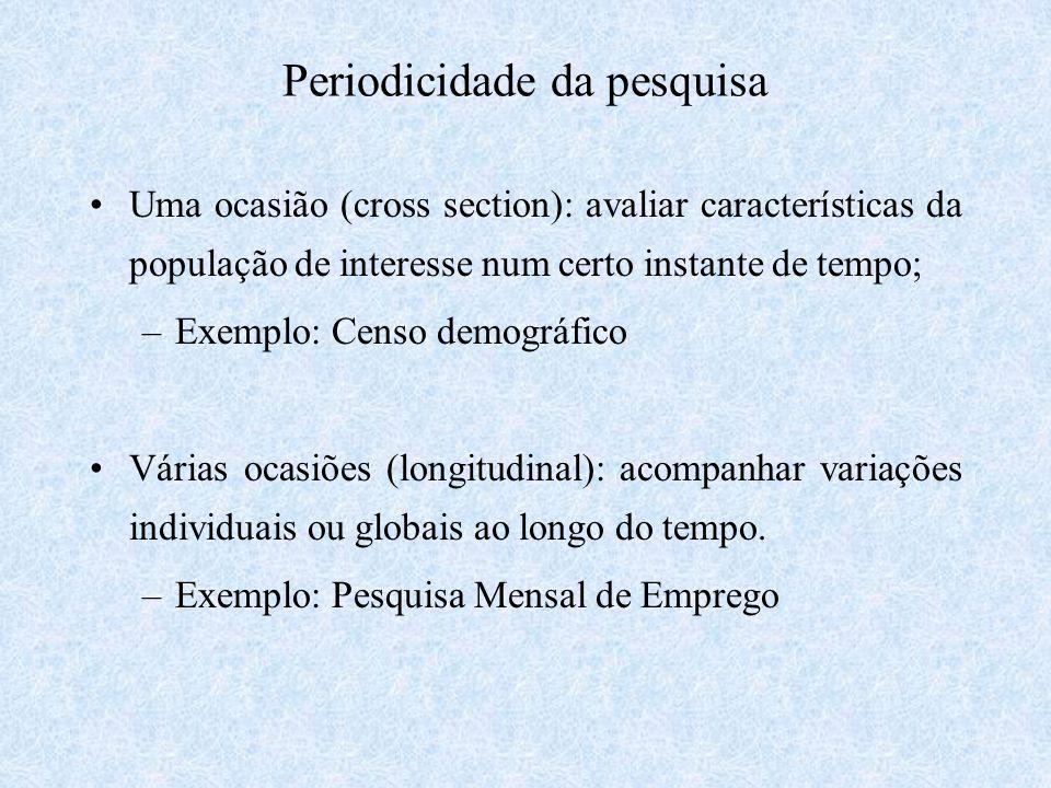 Periodicidade da pesquisa Uma ocasião (cross section): avaliar características da população de interesse num certo instante de tempo; –Exemplo: Censo