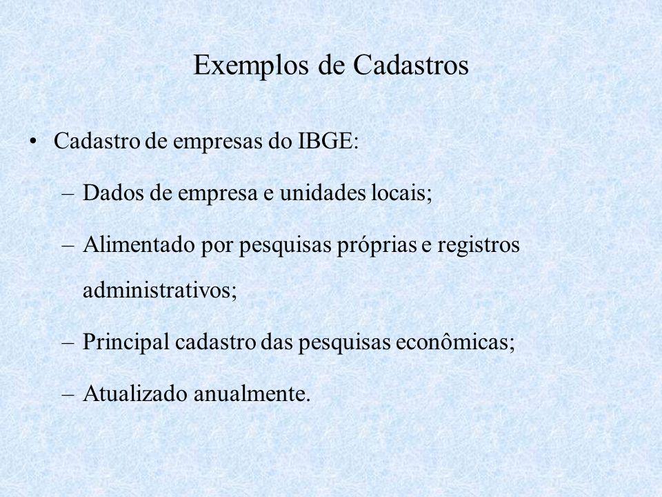 Exemplos de Cadastros Cadastro de empresas do IBGE: –Dados de empresa e unidades locais; –Alimentado por pesquisas próprias e registros administrativo