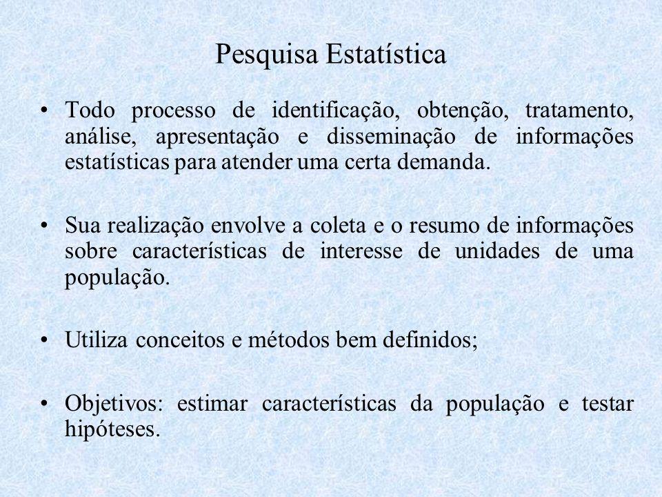 Pesquisa Estatística Todo processo de identificação, obtenção, tratamento, análise, apresentação e disseminação de informações estatísticas para atend