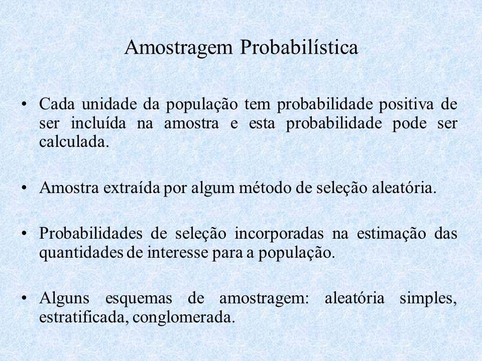 Amostragem Probabilística Cada unidade da população tem probabilidade positiva de ser incluída na amostra e esta probabilidade pode ser calculada. Amo