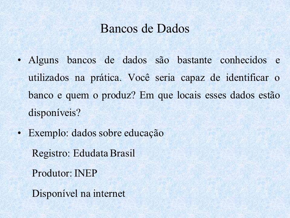 Bancos de Dados Alguns bancos de dados são bastante conhecidos e utilizados na prática. Você seria capaz de identificar o banco e quem o produz? Em qu