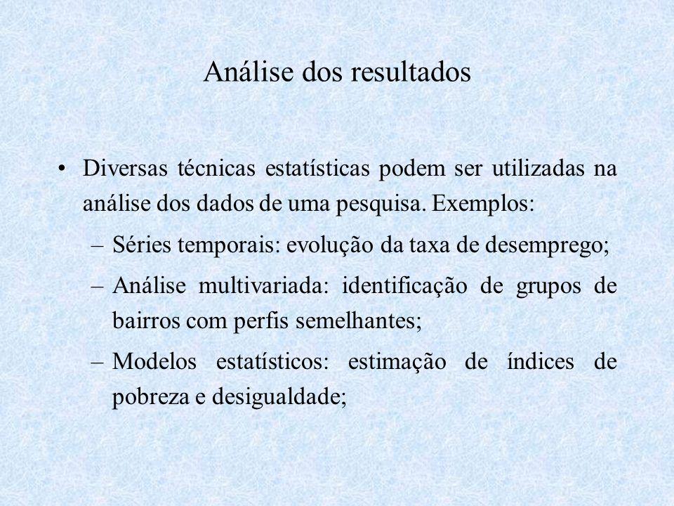 Análise dos resultados Diversas técnicas estatísticas podem ser utilizadas na análise dos dados de uma pesquisa. Exemplos: –Séries temporais: evolução