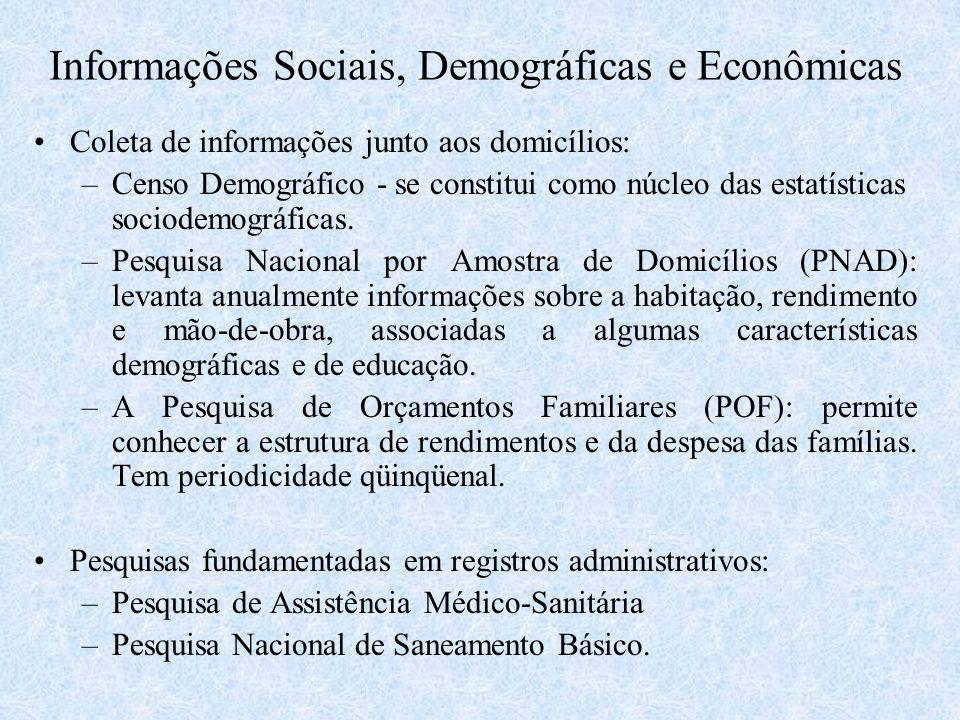 Informações Sociais, Demográficas e Econômicas Coleta de informações junto aos domicílios: –Censo Demográfico - se constitui como núcleo das estatísti
