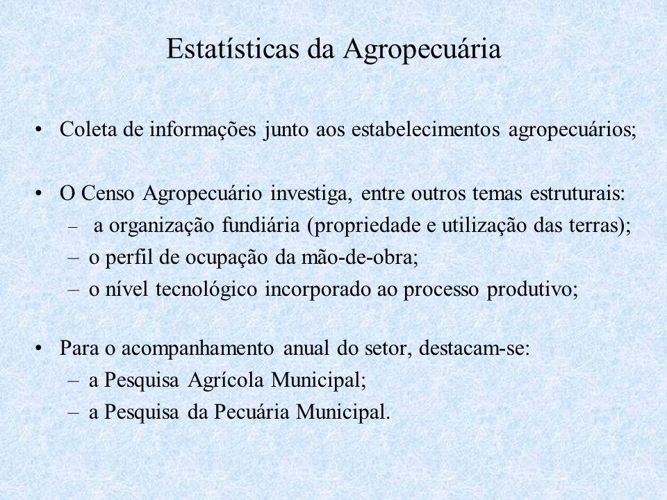 Estatísticas da Agropecuária Coleta de informações junto aos estabelecimentos agropecuários; O Censo Agropecuário investiga, entre outros temas estrut