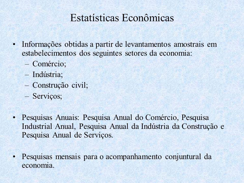 Estatísticas Econômicas Informações obtidas a partir de levantamentos amostrais em estabelecimentos dos seguintes setores da economia: –Comércio; –Ind