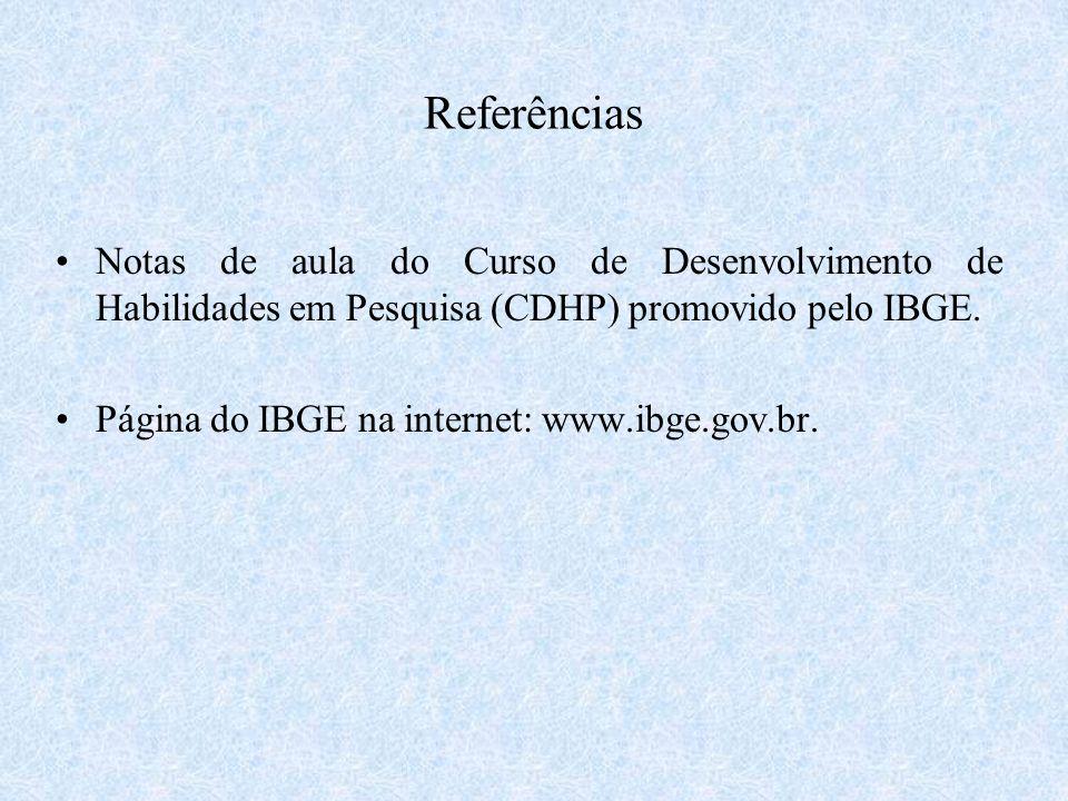 Referências Notas de aula do Curso de Desenvolvimento de Habilidades em Pesquisa (CDHP) promovido pelo IBGE. Página do IBGE na internet: www.ibge.gov.