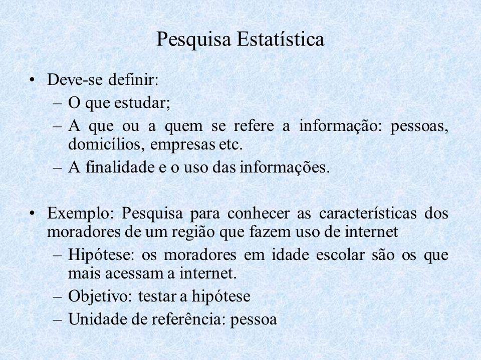 Pesquisa Estatística Deve-se definir: –O que estudar; –A que ou a quem se refere a informação: pessoas, domicílios, empresas etc. –A finalidade e o us