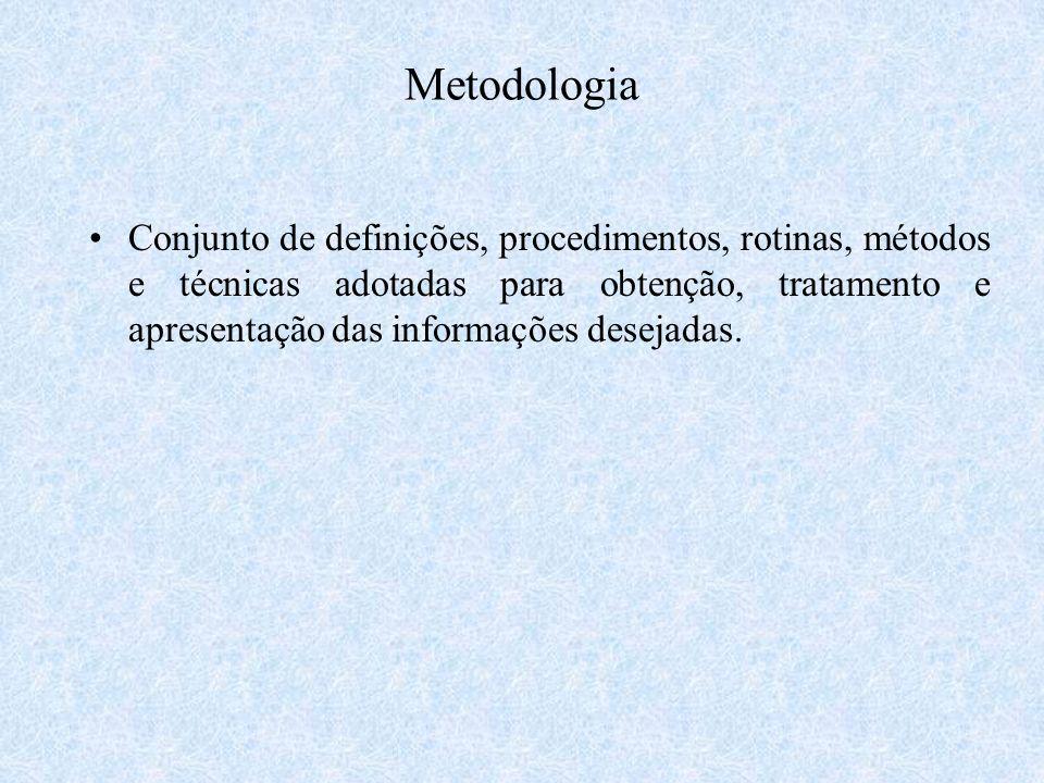 Metodologia Conjunto de definições, procedimentos, rotinas, métodos e técnicas adotadas para obtenção, tratamento e apresentação das informações desej