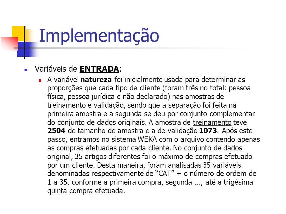 Implementação Variáveis de ENTRADA: A variável natureza foi inicialmente usada para determinar as proporções que cada tipo de cliente (foram três no t