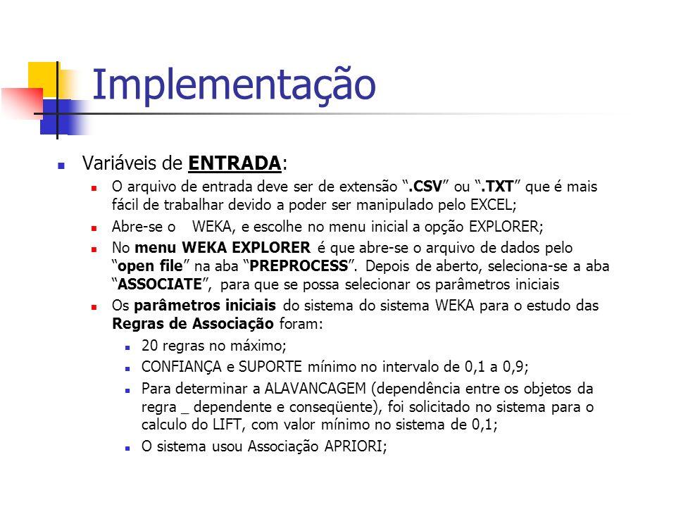 Implementação Variáveis de ENTRADA: O arquivo de entrada deve ser de extensão.CSV ou.TXT que é mais fácil de trabalhar devido a poder ser manipulado p