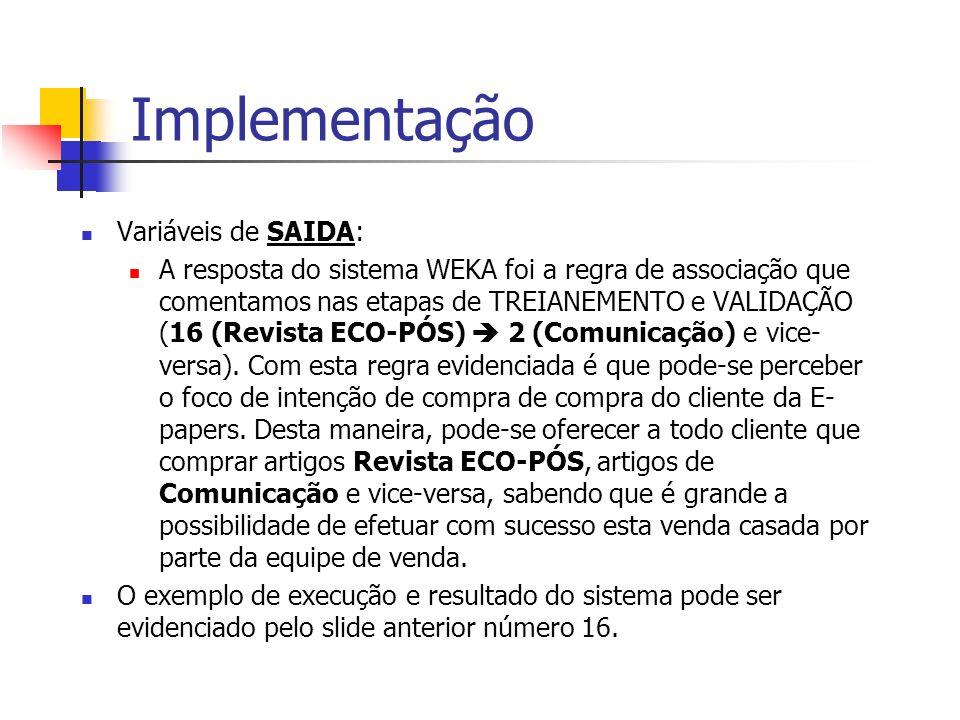 Implementação Variáveis de SAIDA: A resposta do sistema WEKA foi a regra de associação que comentamos nas etapas de TREIANEMENTO e VALIDAÇÃO (16 (Revi