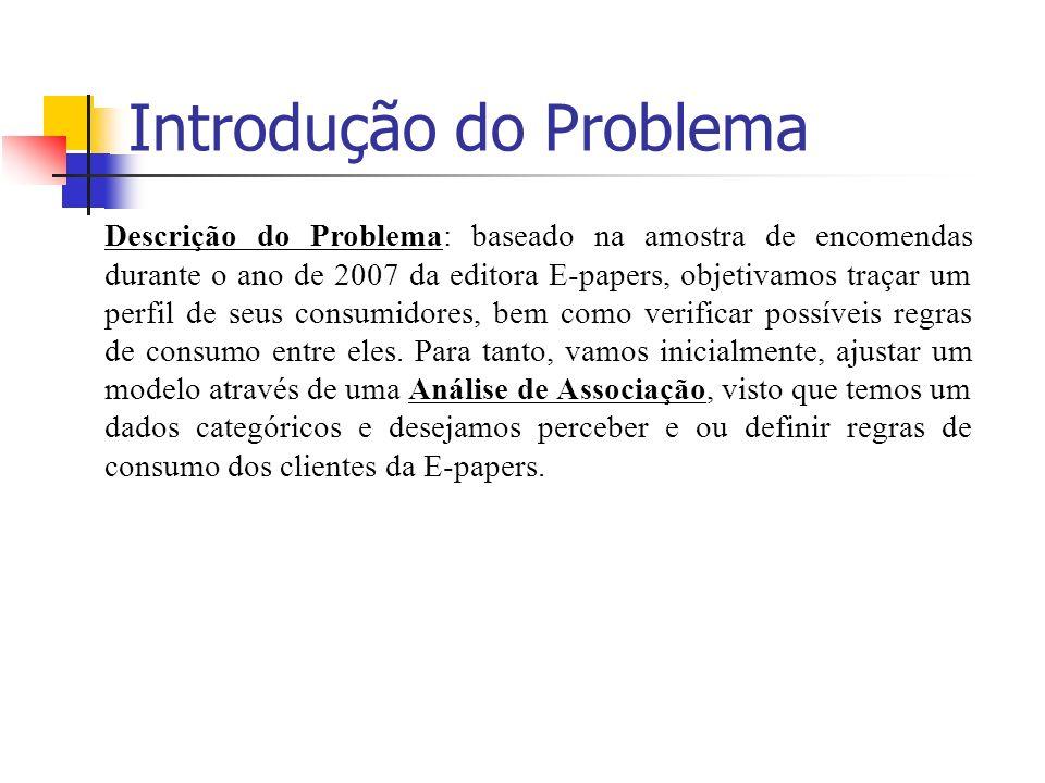 Introdução do Problema Descrição do Problema: baseado na amostra de encomendas durante o ano de 2007 da editora E-papers, objetivamos traçar um perfil