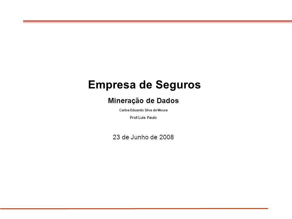 Empresa de Seguros Mineração de Dados Carlos Eduardo Silva de Moura Prof:Luis Paulo 23 de Junho de 2008