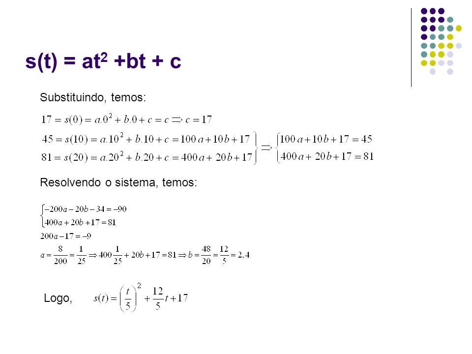 s(t) = at 2 +bt + c Substituindo, temos: Resolvendo o sistema, temos: Logo,