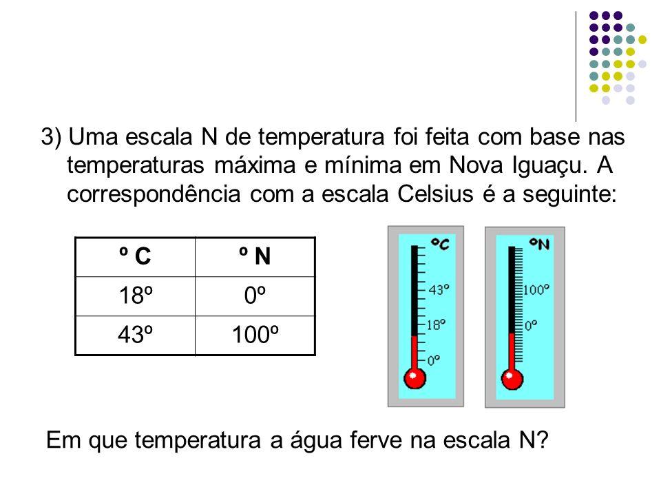 3) Uma escala N de temperatura foi feita com base nas temperaturas máxima e mínima em Nova Iguaçu. A correspondência com a escala Celsius é a seguinte
