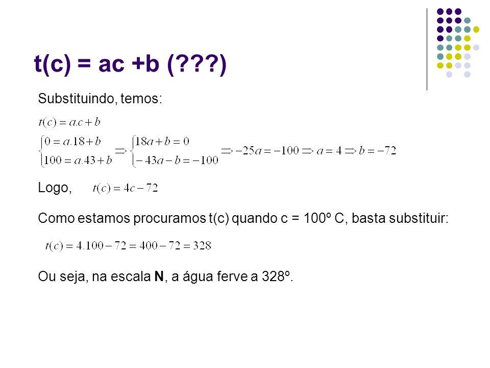 t(c) = ac +b (???) Como estamos procuramos t(c) quando c = 100º C, basta substituir: Substituindo, temos: Logo, Ou seja, na escala N, a água ferve a 3