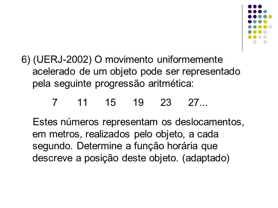 6) (UERJ-2002) O movimento uniformemente acelerado de um objeto pode ser representado pela seguinte progressão aritmética: 71115192327... Estes número