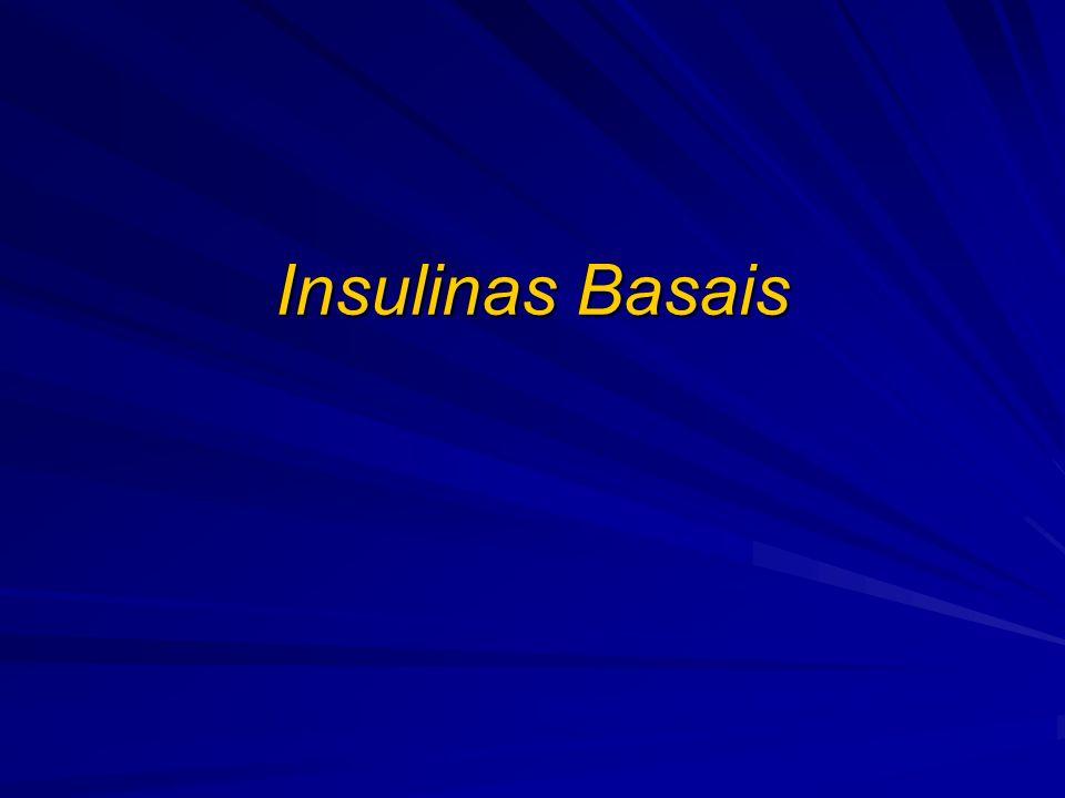 Perfil de ação: NPH Nível plasmático de insulina NPH* Tempo (h) 246810121416182022240 Perfil de ação instável (melhor com várias injeções diárias) Duas ou mais injeções diárias para cobrir 24h Apresenta pico de ação Significativa variação intra e interindividual Causa hipoglicemias Adaptado de Lepore M, et al.